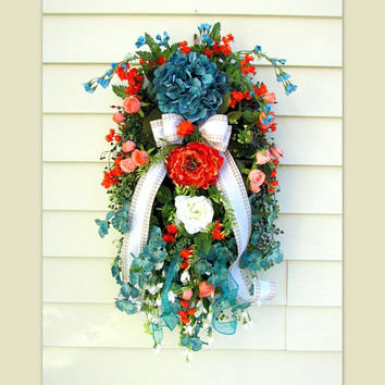 Summer door wreath, spring door swag, swag wreath, floral door swag, spring swag, floral swag hydrangea, country home decor, summer swags