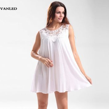 VANLED Irregular Sexy Loose Lace Embroidery Tank Top White Pleated Hollow out Women Sleeveless long Summer Shirt Vest Blusas XXL