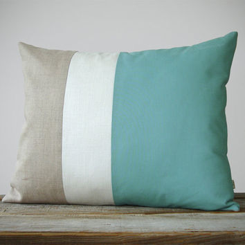 16x20 Color Block Pillow in Mint, Cream and Natural Linen by JillianReneDecor Beach House Home Decor - Striped Trio - Grayed Jade - Custom