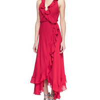 Haute Hippie Lay Me Down Ruffled Halter Long Wrap Dress