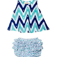 Masala Baby Turquoise & Navy Zigzag Top & Bloomer Set - Infant | Something special every day