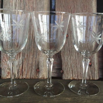 3 Mid century etched crystal water goblets, wedding toasting glasses w/ prism stems, Mid century bar cart wine glasses, vintage glassware
