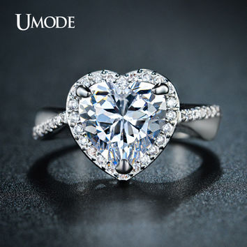 UMODE Classic Halo Engagement Rings 4ct Heart-Shaped Center Stone CZ simulated Diamond  White Gold Plated Bijoux Jewelry UR0223