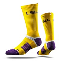 Strideline LSU Yellow Tiger Gold Purple White Crew Socks