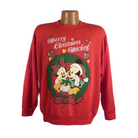 Ugly Christmas Sweater Vintage Sweatshirt Mickey Mouse Party Xmas Tacky Holiday XXXL Plus Size