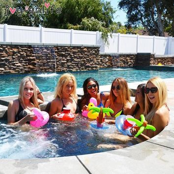 JOY-ENLIFE 6pcs/lot Mini Inflatable Drink Cup Holders Unicorn/Flamingo Swimming Pool Toys Hawaii Beach Party Decoration Supplies