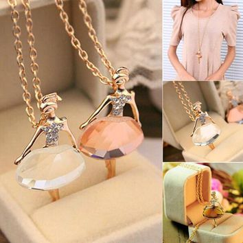 Lowest whole network, New fashion girls Ballet Girl Chic pendant choker necklace Bib crystal jewelry party