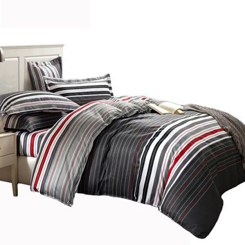 Grey & red stripes printed 4pc Bedding set Queen/Double bed Duvet/Quilt cover Bedclothes Pillow shams sets 100%Cotton fabric