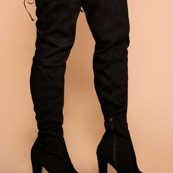 Stand Tall Black Over The Knee Suede Boots