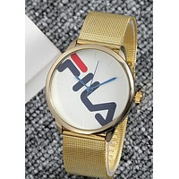 FILA Tide brand new men and women models simple fashion quartz watch gold