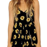 Black Playsuit with Sunflower Print