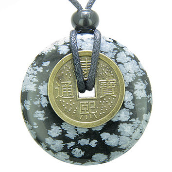 Lucky Coin Evil Eye Protection Amulet Snowflake Obsidian 40mm Donut Pendant Necklace