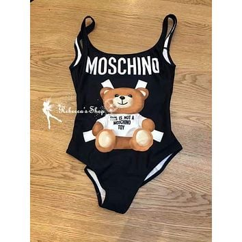 Moschino Summer Classic Fashion Women Beach Cute Bear Print Halter Vest Style One Piece Bikini Swimsuit Black I