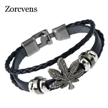 ZORCVENS Cool Handmade Black Leather Braided Mens Bracelets Wristband Vintage Engraved Dragon Bracelet Ethnic Indian Jewelry