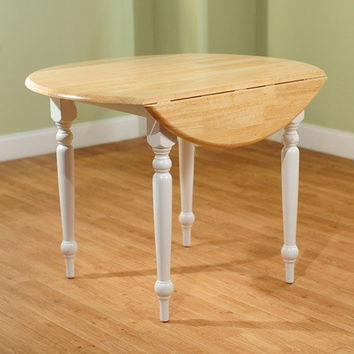 Round Drop-Leaf Dining Table