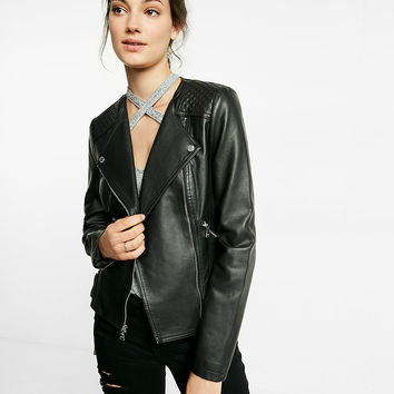(Minus The) Leather Quilted Collarless Moto Jacket