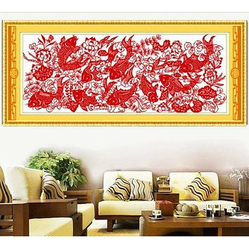 Year by year enough cross stitch kit Chinese style 11ct cotton silk thread canvas embroidery DIY handmade needlework qf