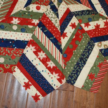 "Large Quilted Christmas Tree Skirt string pieced  54"" diameter Reindeer Games from Moda"