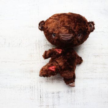 OOAK teddy bear artist bear 8 inches chocolate brown vintage plush