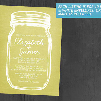 Yellow Vintage Mason Jar Wedding Invitations | Invites | Invitation Cards