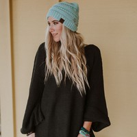 Knitted Pull On Beanie - Mint