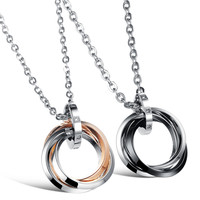 Jewelry Shiny Gift Stylish New Arrival Korean Accessory Ring Couple Titanium Necklace With Christmas Gift Box [9509252036]