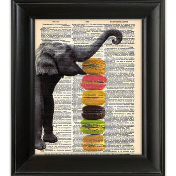 Sweet ELEPHANT likes French Macarons Art Print ORIGINAL Mixed Media Artwork Illustration on 1930s Antique Dictionary Book Page 8x10