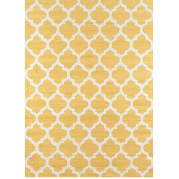 Murray Quatrefoil Gold Yellow Hooked Rug