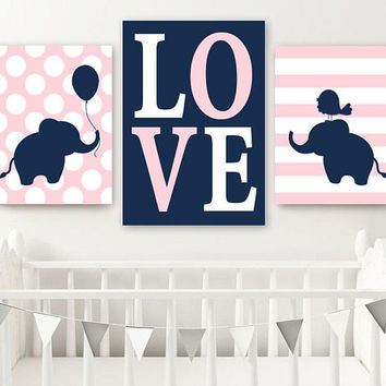 Girl ELEPHANT Nursery Wall Art, Canvas or Prints, Baby Girl Elephant Decor, Twin Bedroom Decor, Twin Navy Pink Elephant Wall Decor Set of 3