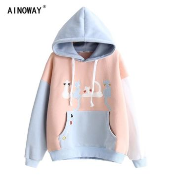 New fashion 2017 Women's Autumn Winter sweatshirts hoodie Sweet  cute Cat embroidery Velvet  cashmere hooded hoodies