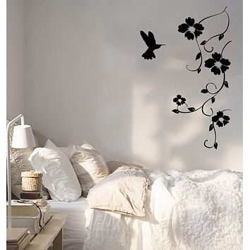 Vinyl Wall Decal Hummingbird Nature Bird Flying Flowers Sticker Unique Gift (656ig)