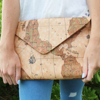 World Traveller Printed Leather Clutch