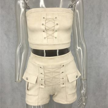 Laced up Side Pocket Suede Two Piece Set