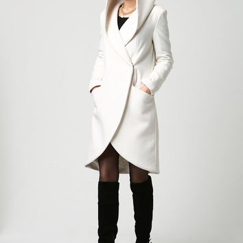 Women's Wool Midi Coat with Hood in Winter White (1119)