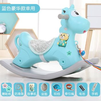 Baby Rocking Chair Baby Plastic Belt Music Rocking Horse Large Thickening Children's Toys 1 3 Years Old Small Wooden Horse Car