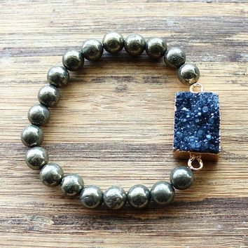 Natural Stone Jewelry 8mm Natural Pyrite Stone & Quartz Druzy pendant bracelet for women