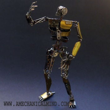 "Watch Parts Figure ""Taus Model 189 'Rusty'"" Articulated Clockwork Mechanical Humanoid Robot Recycled Steampunk Justin Gershenson-Gates"