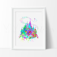 Princess Castle 3 Watercolor Art Print