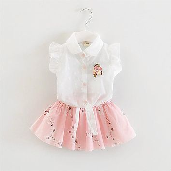 Summer Baby Girls Clothing Set Kids Girls Dress Clothes Suit Toddler Girls Princess Party Costume