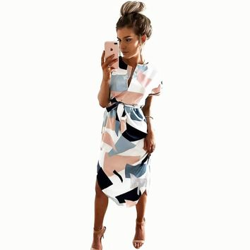 Sexy Summer Short Sleeve V-Neck Geometric Printing Long Dress