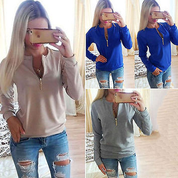 Women's Autumn Winter Long Sleeve Solid Zipper T Shirt Ladies Fashion Cotton O-Neck Plus Size Top