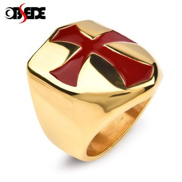 OBSEDE Vintage Retro Punk Red Cross Rings Gold Shield 316L Stainless Steel for Men Jewelry Jesus FlatBand hiphop Biker Gifts