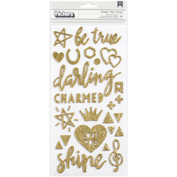 "Shine Thickers Stickers 5.5""""X11"""" 2/Pkg-Beautiful Words & Icons/Gold Glitter"