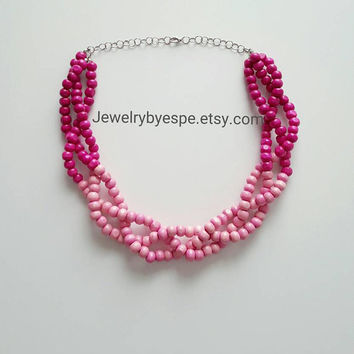 Hot Pink Layered Necklace, Chunky Bib Necklace, Beaded Statement Necklace, Pink Statement Necklace