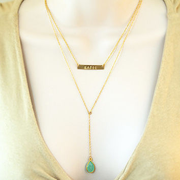 Custom Birthstone necklace, Horizontal Bar Necklace, double strand y necklace, nameplate Necklace, id necklace, personalized lariat necklace