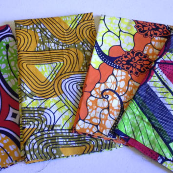 FAT QUARTER BUNDLE--African Wax Print--Yellows and Oranges 4-pack bundle