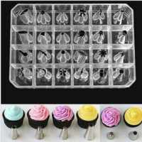 24PCS Icing Piping Nozzles Tips Pastry Cake Cup Sugarcraft Decorating Tool Xmas
