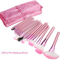 22pcs Pink Handle Pro Soft Cosmetic Makeup Brush with Bag