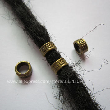 Free shipping 30Pcs/Lot  Antique Brass color braid dread dreadlock bead clip cuff approx 6mm hole