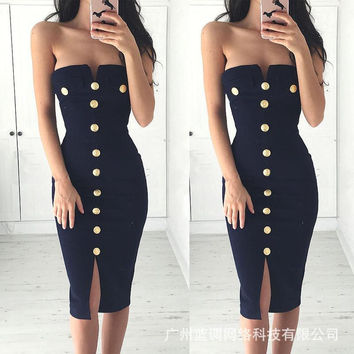 Strapless Bodycon Button Pure Color Knee-length Dress